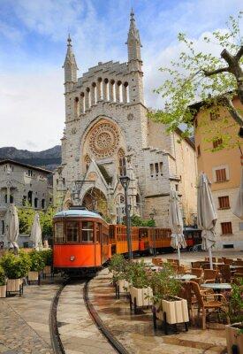 Sticker Vieux, tram, devant, cathédrale, soller, majorque, espagne