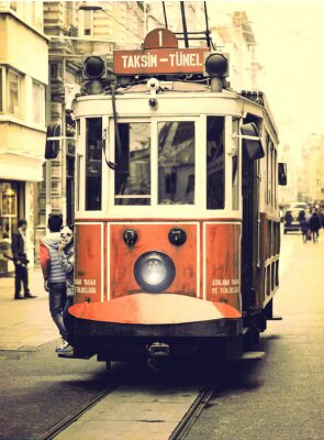 Sticker Vieux tramway sur la rue Istiklal, Istanbul.