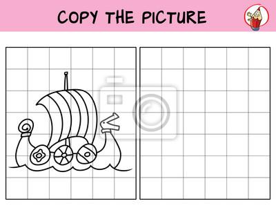 Coloriage Viking Cheval.Viking Drakkar Copiez Limage Livre De Coloriage Jeu Educatif