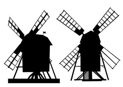 Sticker Village vieux moulin sur fond blanc