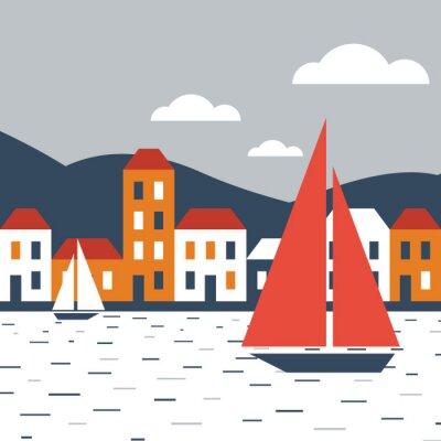 Sticker Ville au bord de la mer