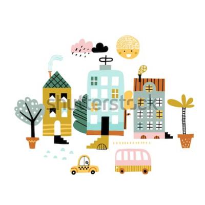 Sticker Ville d'impression Illustration vectorielle enfantine avec gratte-ciel, bâtiments et voitures. Conception pour affiche, carte, sac et t-shirt, couverture. Couleurs pastel. Style scandinave.