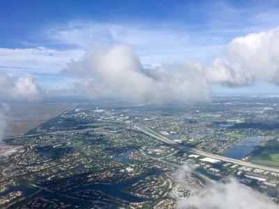 Ville, route, rivière, aérien, vue, avion, nuageux, ciel, weston ...