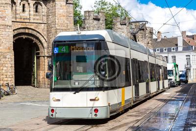 Ville, tram, Gent, beau, Été, jour, Belgique