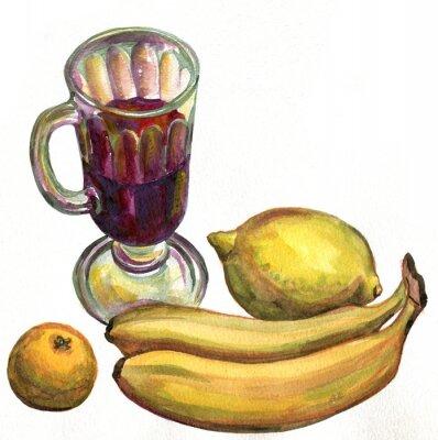 Sticker Vin chaud, bananes, citron et mandarine. La peinture à l'aquarelle
