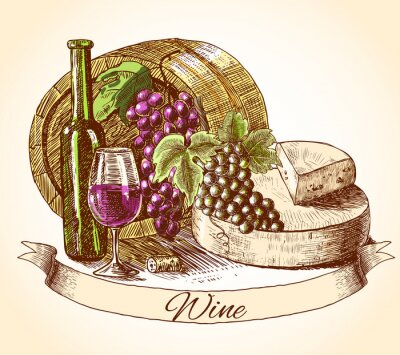 Sticker vin de fromage et de pain fond