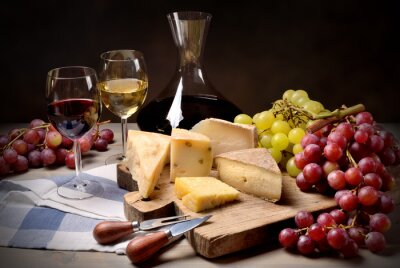 Sticker Vin, raisin et fromage