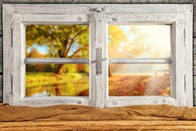 Sticker Vintage arbres d'automne fenêtre de Overlook bois