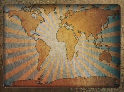 Sticker Vintage card carte du monde
