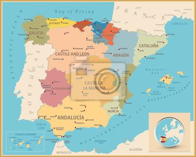 Vintage carte de couleurs de l'Espagne