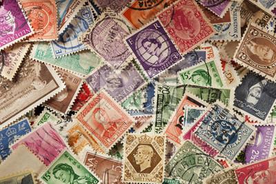 Sticker Vintage coloré des timbres-poste d'occasion