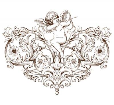 Sticker Vintage, décoratif, élément, gravure, Baroque, ornement, modèle, cupidon
