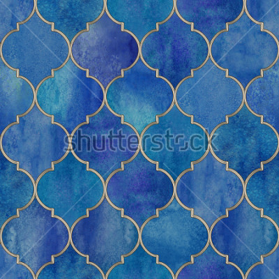 Sticker Vintage decorative moroccan seamless pattern with glittering line. Watercolor hand drawn blue purple stained-glass window design. Watercolour oriental elements. Print for textile, wallpaper, wrapping.