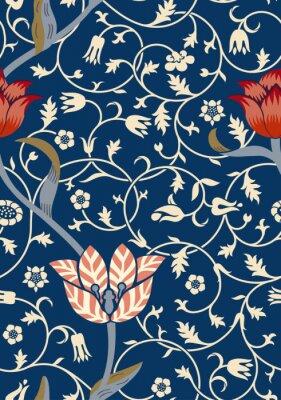 Sticker Vintage motif floral sans soudure sur fond sombre. Illustration vectorielle