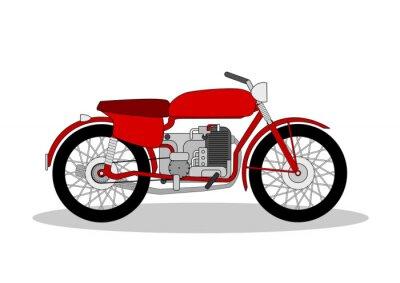 Sticker Vintage, moto, Illustration, blanc