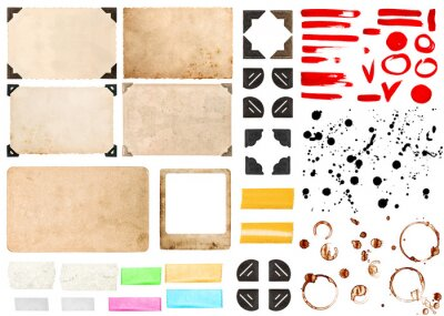 Sticker Vintage photo paper card corners tape strips frames isolated