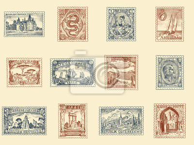 Sticker Vintage Postage stamps set. Ancient landscapes, dragon and sailing ship. Retro old Sketch. Monochrome Postcard. Hand drawn engraved retro mark, frames collection for print banner, poster and logo.