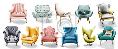 Sticker Vintage retro armchair set collection Vector watercolor. Modern style furniture. Old effect designs