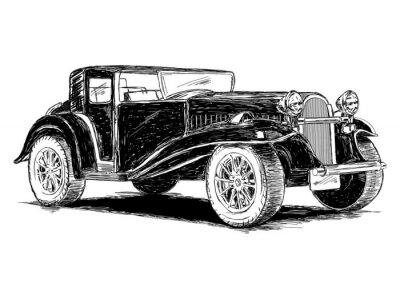Sticker Vintage, retro, vieux, voiture, vecteur, Illustration
