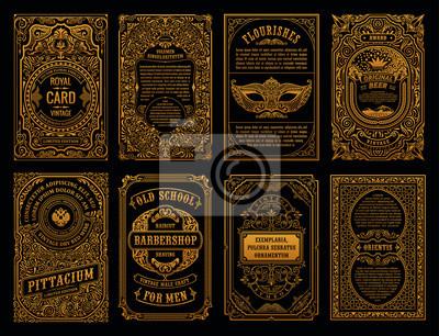 Sticker Vintage set cartes rétro. Invitation de mariage de modèle de carte de voeux. Ligne des cadres calligraphiques