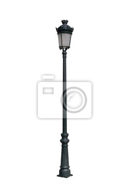Sticker vintage street lamp post isolated on white background