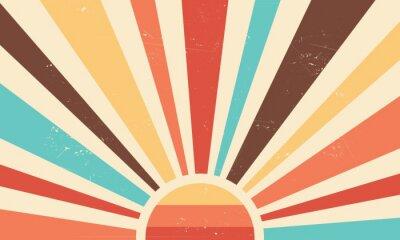 Sticker Vintage sun retro banner background. Colourful grunge sunburst. Vector illustration.