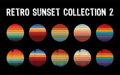 Sticker Vintage sunset collection in 70s 80s style. Regular and distressed retro sunset set. Five options with textured versions. Circular gradient background. T shirt design element. Vector illustration,flat