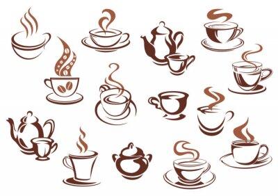 Sticker Vintage tasses et pots de café brun