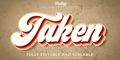 Sticker Vintage text effect, editable retro and old text style