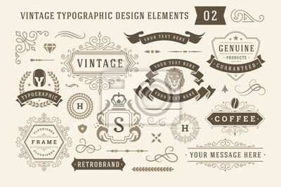 Sticker Vintage typographic design elements set vector illustration.