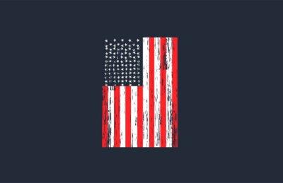 Sticker Vintage USA Flag with Grunge Style Vector Design