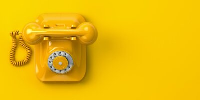 Sticker vintage yellow telephone on yellow background. 3d illustration