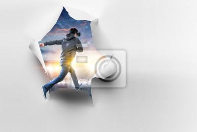 Sticker Virtual reality experience, technologies of the future. Mixed media