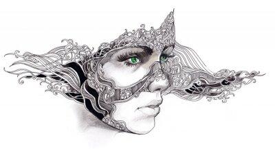 Sticker visage de femme abstraite