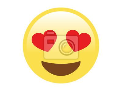 13b24f9029f656 Sticker Visage heureux jaune vecteur isolé avec icône plate yeux coeur rouge