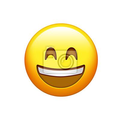 05f45bfa369c6a Visage souriant jaune isolé avec icône des dents blanches stickers ...