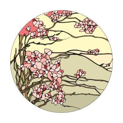 Sticker Vitrail avec sakura