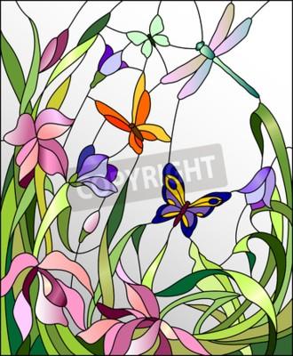 Sticker Vitrail, fleurs, papillons