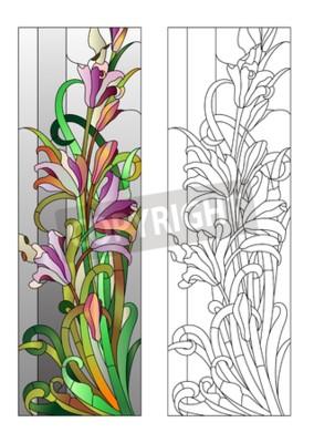 Sticker Vitrail, pourpre, floral, modèle