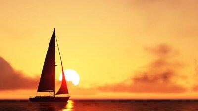 Sticker voilier et le coucher du soleil