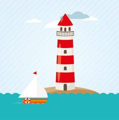 Sticker Voilier sur le phare de Vector front de mer