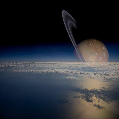 Sticker Voir à partir d'un satellite en orbite autour d'une planète aux anneaux.