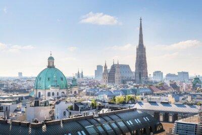 Sticker Voir sur Vienne horizon avec la cathédrale Saint-Étienne au matin, Vienne, Autriche