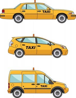 Sticker Voiture de taxi sur un fond blanc dans un style plat