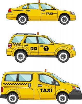 Sticker voiture de taxi sur un fond blanc dans une FlatStyle