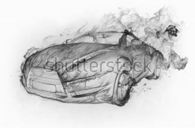 Sticker Voiture fumée isolée sur fond blanc. Conception de voiture originale.