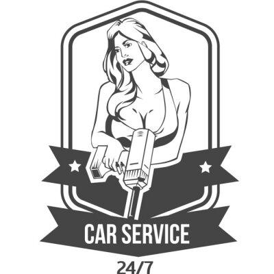 Sticker Voiture, service, rétro, vendange, insigne, sexy, femme, maintiens ...