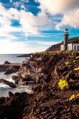 Sticker Volcanique paysage avec phare près de sal usine Fuencaliente sur l'île de La Palma en Espagne