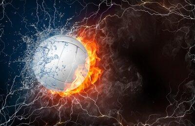 Sticker Volley Ball à feu et de l'eau