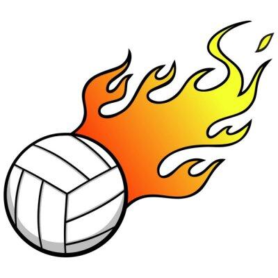 Sticker Volley-ball avec Flames